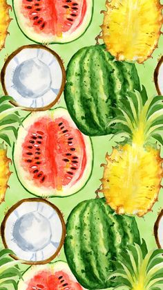 Cute Wallpaper Backgrounds, Pretty Wallpapers, Cartoon Wallpaper, Cute Summer Wallpapers, Wallpaper Wallpapers, Watermelon Wallpaper, Pineapple Wallpaper, Watermelon Background, Iphone Background Wallpaper