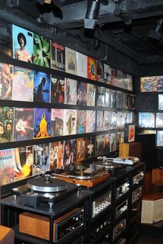 Vinyl albums and vintage audio equipment in the basement. [Photo by Tim Jenkins]