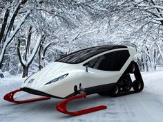 Check Out This Futuristic Concept Snowmobile Snow Vehicles, Snow Machine, Futuristic Cars, Futuristic Design, Electric Scooter, Electric Vehicle, Electric Motor, Cars And Motorcycles, Luxury Cars