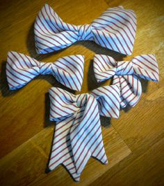 Cotton striped bowties for all the family! Bowties, Cotton, Handmade, Tie Bow, Hand Made, Bows, Butterfly, Bow Ties, Handarbeit