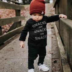 These soft black crewneck t-shirt are a must have for your little ones. This unisex stylish t-shirt has the hip design Snacks on Snacks on Snacks screen printed in white. These fit true to size. Note: Pre-Order items will ship Feb. So Cute Baby, Cute Baby Boy Outfits, Little Boy Outfits, Toddler Boy Outfits, Cute Baby Clothes, Cute Babies, Toddler Boy Clothing, Toddler Boys Clothes, Kids Clothing