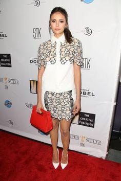 Luxe celeb fashion trends   5 chic ways to wear florals this spring/summer   Nina Dobrev in black and white floral lace blouse and skirt with red bag   The Luxe Lookbook