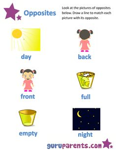 List Opposites For Preschoolers Printable Worksheets