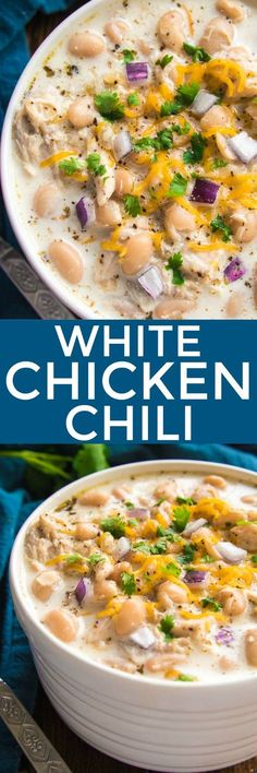 The BEST White Chicken Chili! If you love chili, you'll love this creamy, delicious twist! This recipe comes together quickly and is always a favorite -perfect for game days, weeknight dinners, and family gatherings. Make it with rotisserie chicken for an extra easy dinner, and top it with all your favorites for a delicious dish everyone will love! Whether you're a traditional chili fan or prefer white bean chili, you'll love the amazing flavor in this Creamy White Chicken Chili…