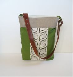 Green Linen Burlap Tote Bag with Upcycled Vintage Doily and Upcycled Leather Belt Strap by JuneberryStitches.