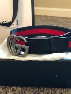 d21f329ada8 Gucci Belt Mens Blue   Red With Silver GG Buckle 105cm  fashion  clothing