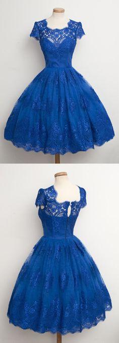 1950s vintage dress, short homecoming dress 2016, royal blue lace homecoming dress,bridesmaid dress, wedding party dress