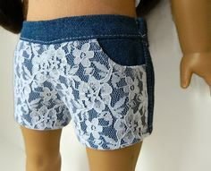 American Girl Doll Clothes - White Lace Front Denim Shorts