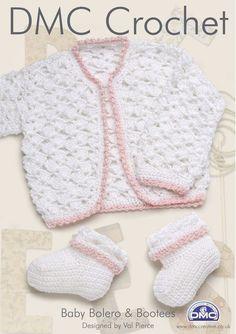 Free Crochet Patterns Baby Bolero : DMC Baby Bolero and Bootees Crochet Pattern 15009L 2