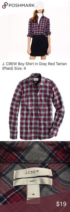 """J. CREW Boy shirt in Grey Tartan Plaid (Red, Gray) J. CREW Boy shirt in Grey Tartan Plaid. Gray & Red. Excellent pre-owned condition- NO rips, holes or snags. Laundered, clean and ready to ship.  Size on tag: 4 Measrues approximately: 17.5"""" from armpit to armpit 24"""" from shoulder to cuff 25.5"""" length J. Crew Tops Button Down Shirts"""