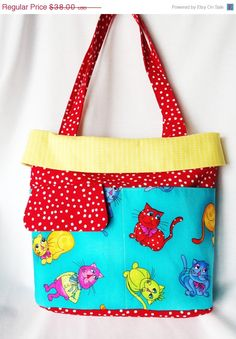 ON SALE Bright Red and Yellow Cats Tote Bag Beach or by SewWithIt   http://www.etsyonsale.com/shop/SewWithIt