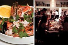 Tel Aviv Essentials in the NYT: At left, seafood at Delicatessen 79/81. At right, the dinner scene at Mizlala.