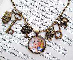 Alice in Wonderland necklace disney necklace steampunk jewelry bronze charm necklace. $20.00, via Etsy.