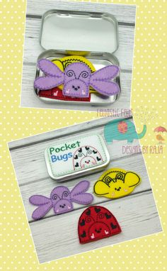 Pocket bugs finger puppets tin play set, embroidered, travel toy game, butterfly bee ladybug puppet, quiet toy, toy, make believe, doll, bug - pinned by pin4etsy.com