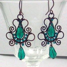 Emerald Teardrop Copper Earrings Soutache Styled Wire Wrapped