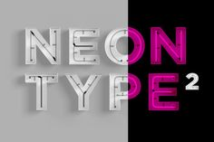 """Not really a """"font"""" but Neon Type 2 is a great photoshop template that will help you build realistic words that look like neon signs."""