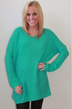 Oversized turquoise knit sweater $49  www.herringstonesboutique.com