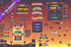 Complete Fantasy Game UI kit by Vectricity Designs on Blockchain Game, Game Gui, Game Ui Design, Game Interface, Social Games, Ui Design Inspiration, Design Ideas, Game Concept, Concept Art