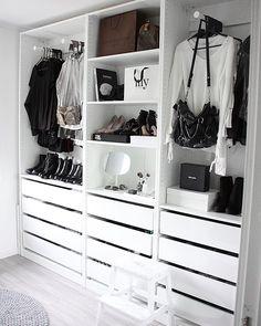 Walkincloset - Love my girly room 🖤 Happy weekend! Bedroom Closet Design, Closet Designs, Bedroom Storage, Bedroom Decor, Ikea Closet, Closet Hacks, Best Closet Organization, Wardrobe Room, Closet Layout