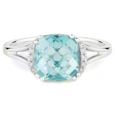 14k white gold blue topaz and diamond collar ring