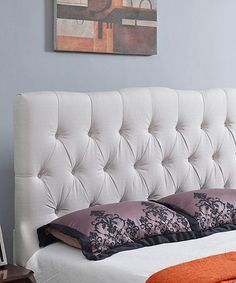 Love this Ivory White Tufted Linen Headboard on #zulily! #zulilyfinds