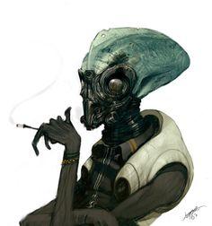 Smoking Alien by jeffsimpsonkh
