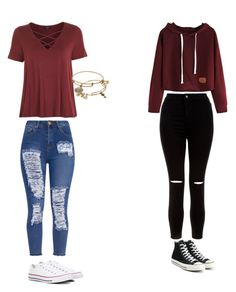 """Maroon"" by maliyah-waldron ❤ liked on Polyvore featuring Topshop, New Look, Converse and Alex and Ani"