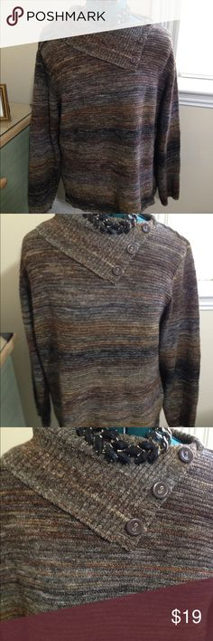 Christopher & Banks Brown Sweater Worn once. Variegated brown colored sweater with 3 buttons at neckline that folds down. Very warm. Christopher & Banks Sweaters Cowl & Turtlenecks