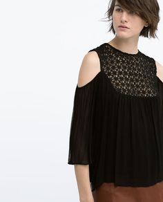 ZARA - NEW THIS WEEK - GUIPURE FRONT OFF-SHOULDER BLOUSE