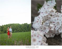 Princess Cut Halo Diamond Engagement Ring {Ridley Creek State Park Engagement Session/ Laura and Brad/ Forest Wedding/ Samantha Jay Photography}