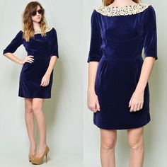 Vintage 60s Navy Blue Velvet Crochet Lace Collar Sheath Wiggle Mini Party Dress | eBay