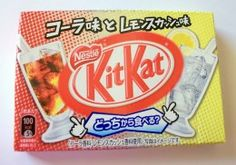 Kit Kat Japan Flavors | Different flavors of Japanese Kit-Kat Bars : Cola flavor and lemon squash flavor half and half
