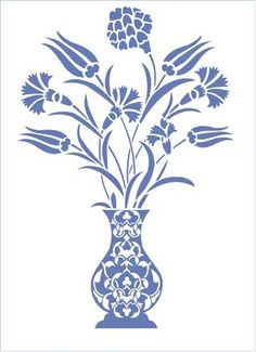 Turkish vase with flowers (double overlay) Ottoman Stencil Design from Stencil K.