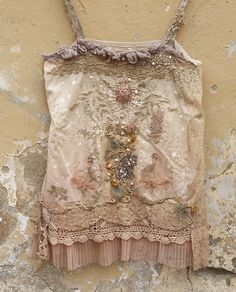 Coppelia - ballett inspired delicate romantic tank top with hand embroidery and beading,featured in Altered Couture magazine