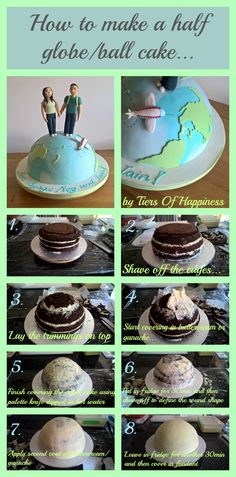 How to make a half globe or half ball cake. Easy to make, no need for a half ball cake tin! www.tiersofhappiness.net #halfglobecake #halfballcake #ballcake