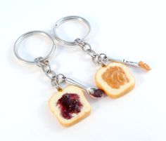 Peanut Butter and Jelly Keychain Set, With Knife  Spoon, Best Friend's Keychains, Cute :D on Etsy, $12.00