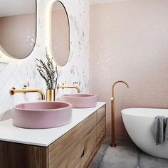 Bathroom interior 439663982368306949 - bathroom inspiration design, light pink bathroom, pink basin, vanity designs Source by House Design, Bathroom Interior Design, Interior, Interior Design Trends, House Interior, Modern Bathroom, Pink Bathroom, Bathroom Decor, Beautiful Bathrooms