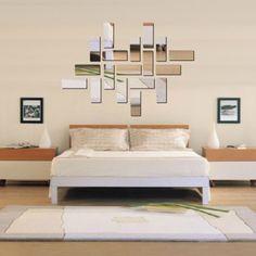3D akrylové obdélník zrcadlový efekt nástěnnými Sticker obraz na stěnu Home Room Decor