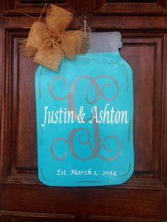 Wooden Mason Jar Vinyl u0026 handpainted Door Decor hanger wreath thats personalized or monogrammed & Southern Football SEC Mason Jar Door Hanger by OnTheBrightSideArt ...