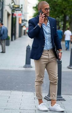 There's nothing more classic than a navy blazer, a pair of chinos and white sneakers. Every man should have those three items in his wardrobe.