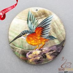 HAND PAINTED HUMMINGBIRD NATURAL MOP MOTHER OF PEARL SHELL PENDANT ZL3005866 #ZL #PENDANT