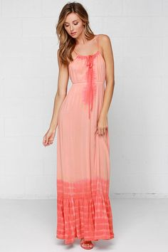 Others Follow Emerson Peach Tie-Dye Maxi Dress at Lulus.com!