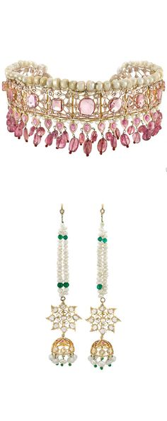 Indian Low Karat Gold, Pink Tourmaline and Pearl Fringe Choker Necklace with Cord and Pair of Pendant-Earrings. 11 vari-shaped pink tourmalines, 23 pear-shaped cabochon pink tourmalines, 47 pink tourmaline beads, diamonds, rubies & green glass, 2 tourmaline beads missing, one earring broken. Choker length adjustable. With box.