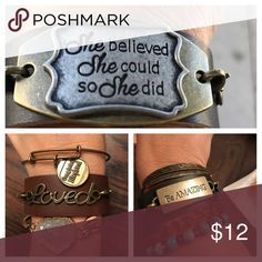 Homemade leather bracelet Gypsy inspired, bohemian bracelet. Jewelry Bracelets