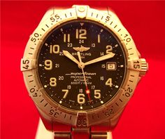 """Gents stainless steel, automatic date model Breitling """"Superocean"""".    Lovely, clean black dial. Rotating bezel. Integrated bracelet.    Boxed."""