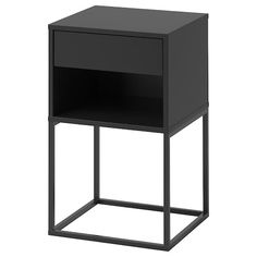 IKEA - VIKHAMMER, Bedside table, black, The drawers close silently and softly, thanks to the integrated soft-closing function. May be completed with FIXA stick-on floor protectors; protect the underlying surface against wear. Bedside Table Ikea, Metal Nightstand, Ikea Stockholm, Nordli Ikea, High Beds, Liatorp, Painted Drawers, Night Table, Ikea Hacks
