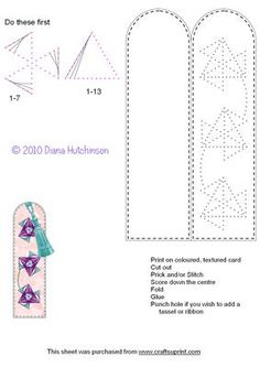 Geometric Bookmark on Craftsuprint designed by Diana Hutchinson - A bookmark to stitch (or prick) with a geometric pattern. - Now available for download!