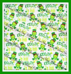 New 3 yards 7/8 St Pattys Day Green Kiss Me by WhimsyRibbonShop, $4.25