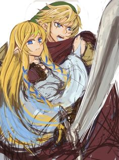 -zelda and link, OR goddess Hylia and the original hero it looks more like it