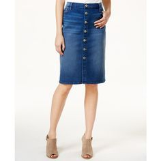 Tommy Hilfiger Denim Button-Front Skirt, ($40) ❤ liked on Polyvore featuring skirts, medium wash, tommy hilfiger, white skirt, tommy hilfiger skirts, knee length denim skirt and button front denim skirt